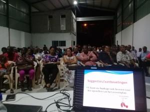 Een indruk van de hoorzitting van het ressort Houttuin in het district Wanica